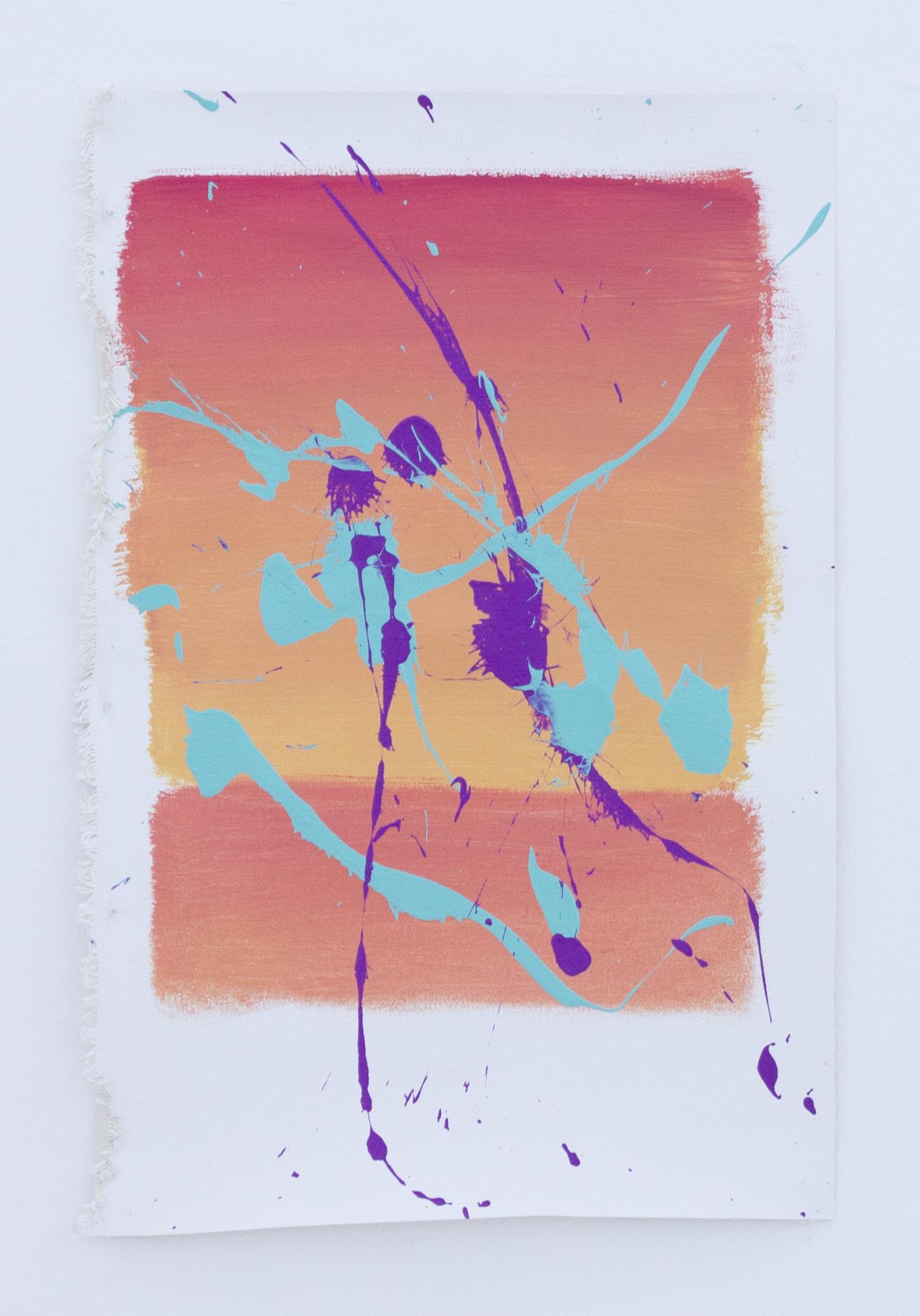 Rothko-Pollock 1   acrylic and vinyl on canvas   33 x 49 x 32.5 x 49.5 cm 2012
