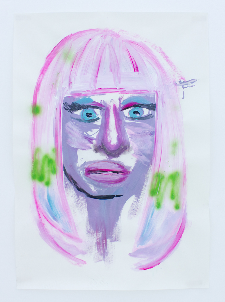 Portrait of Nicki Minaj   acrylic, vinyl, coloring hair spray and puff paint on paper   70 x 100 cm   2011