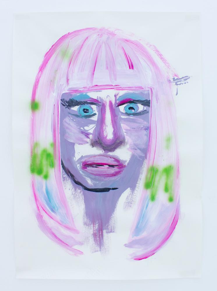 Portrait of Nicki Minaj   acrylic, vinyl, coloring hair spray and puff paint on paper   70 x 100 cm   2011
