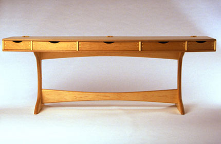 "Computer Desk with maple veneer; FSC certified as harvested from a ""well-managed"" forest made by and image courtesy of Woodshanti"