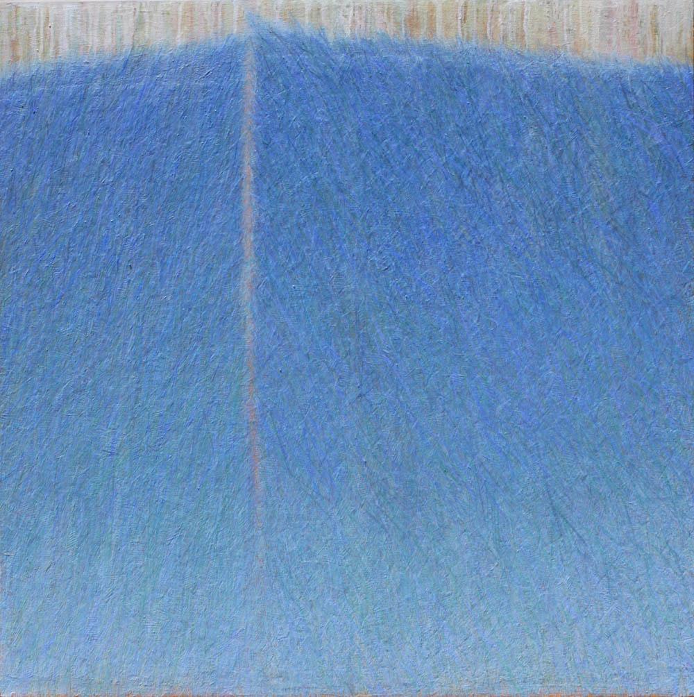 GINA BORG Blue Meet, oil on canvas, 36 x36 inches, 2012