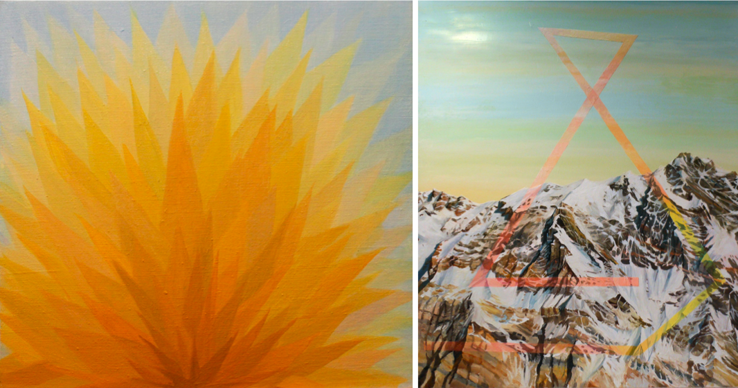 """GINA BORG Yellow piece 2 """"Oil on linen, 15 x 16 inches, 2014"""" (left) CHRIS RUSSELL Layer, Mine & Refine, 50 x 42 inches, Oil on Canvas, 2012 (right)"""