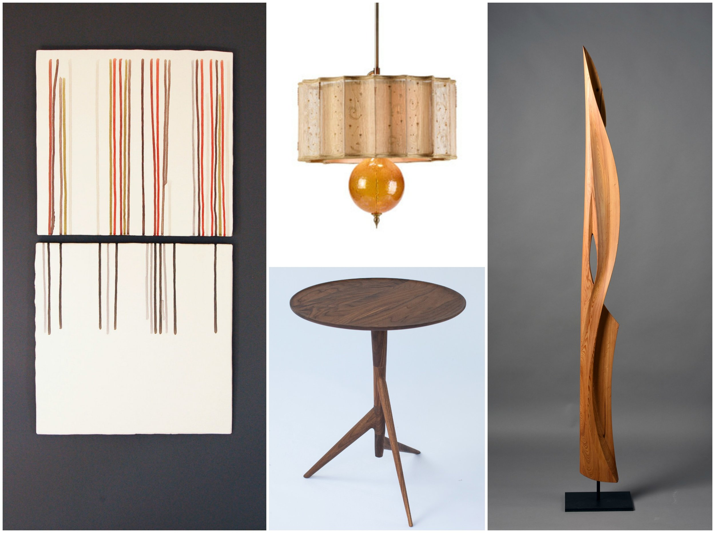 From left to right: James Aarons Ceramic wall art, lamp from Kinzig Design, end table from Slice Furniture/Kevin Costello and wood sculpture from Koji Tanaka.