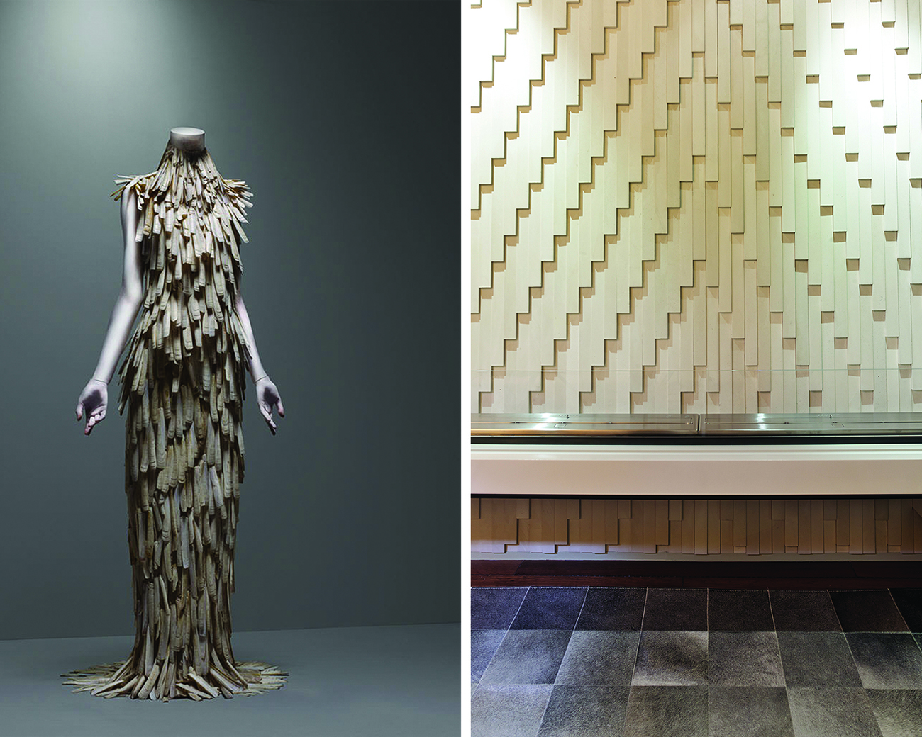 The tile for this fireplace was inspired by the razor clam dress by the uber talented Alexander McQueen.