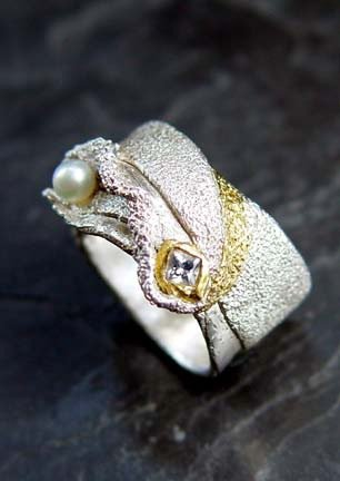 Organic Ring #36 White Sapphire 24K gold and silver.jpg
