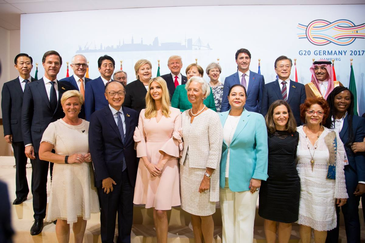 Ivanka Trump, center in pink, with the 2017 G20 leaders in Hamburg, Germany.
