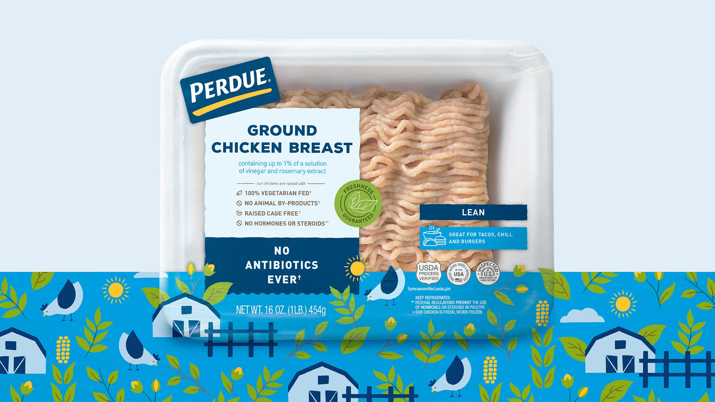 Perdue chicken packaging ground chicken pattern