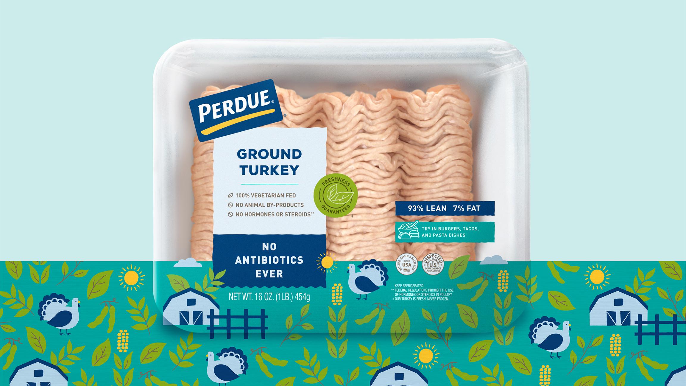 Perdue chicken packaging ground turkey pattern