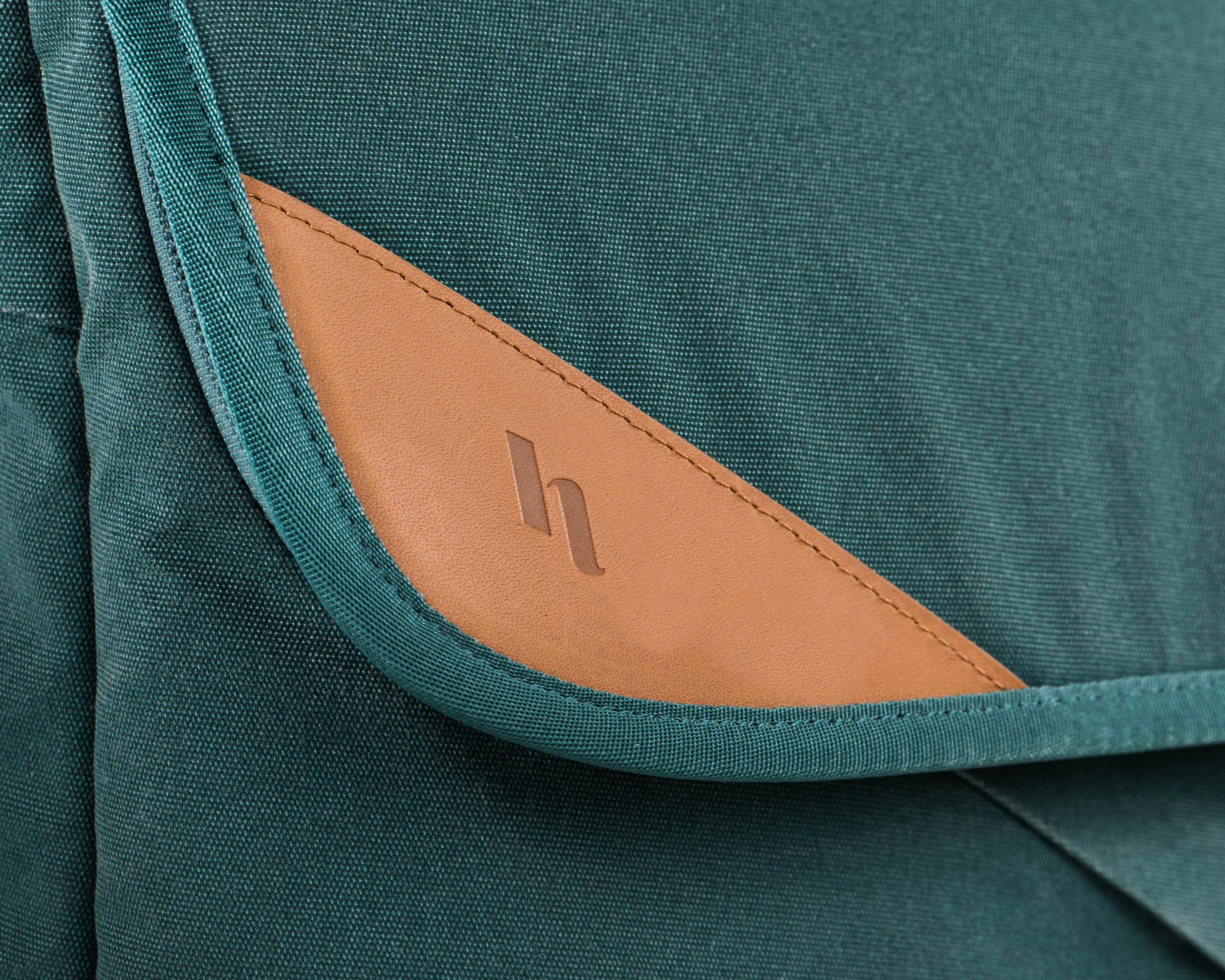 Holdland backpack green logo detail