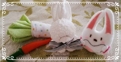 If baby's mouth needs to be cleaned, could hand towels folded into bunny and carrot (oshibori art) come in handy?