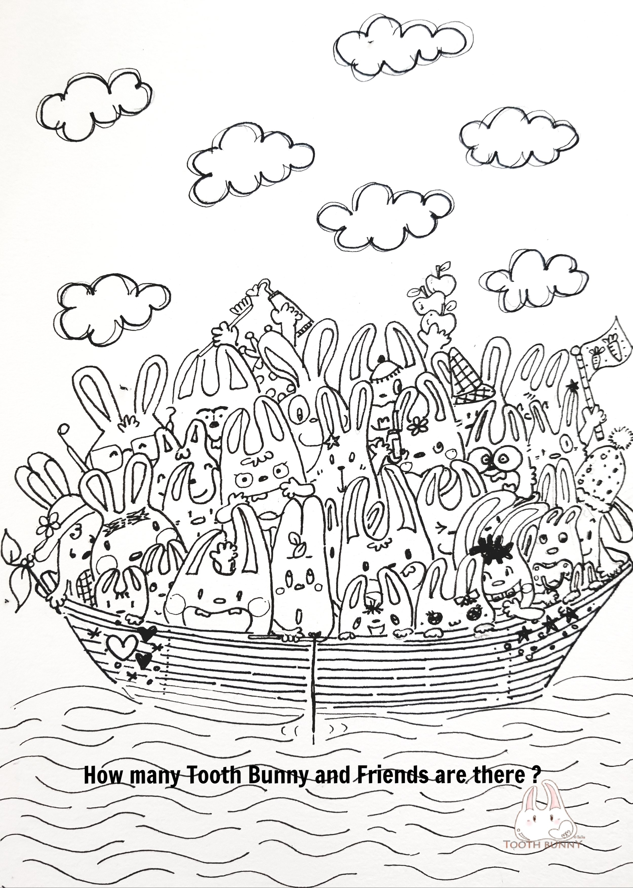 Colour In and Count How Many Tooth Bunny and Friends are there?