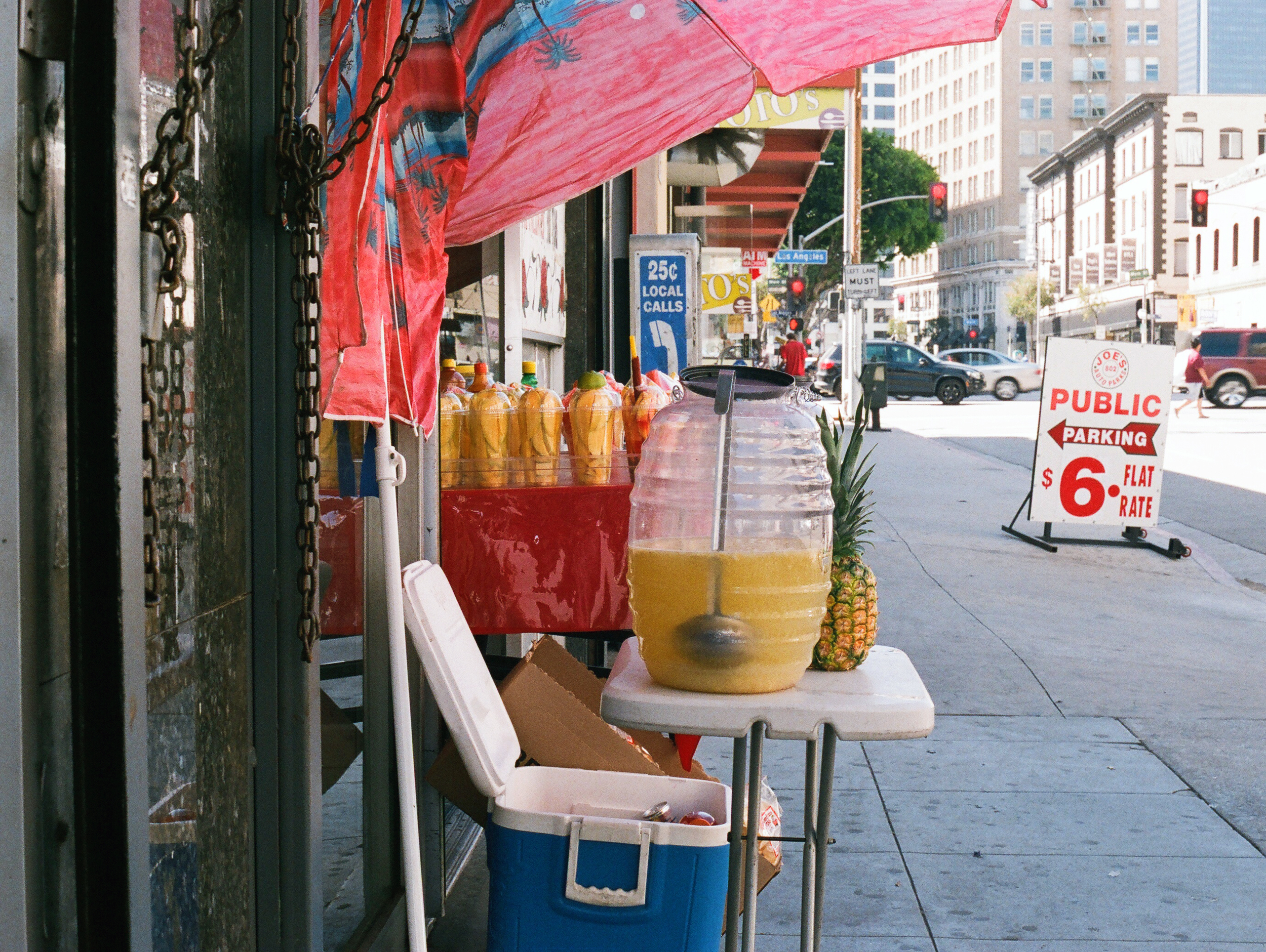 Fashion District fruit stand. 35mm