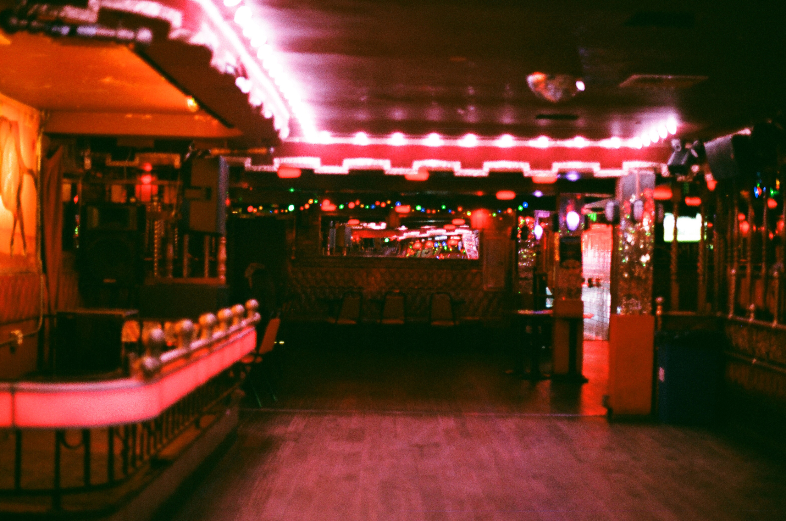 Empty dance floor. La Cita, Downtown Los Angeles. 35mm.
