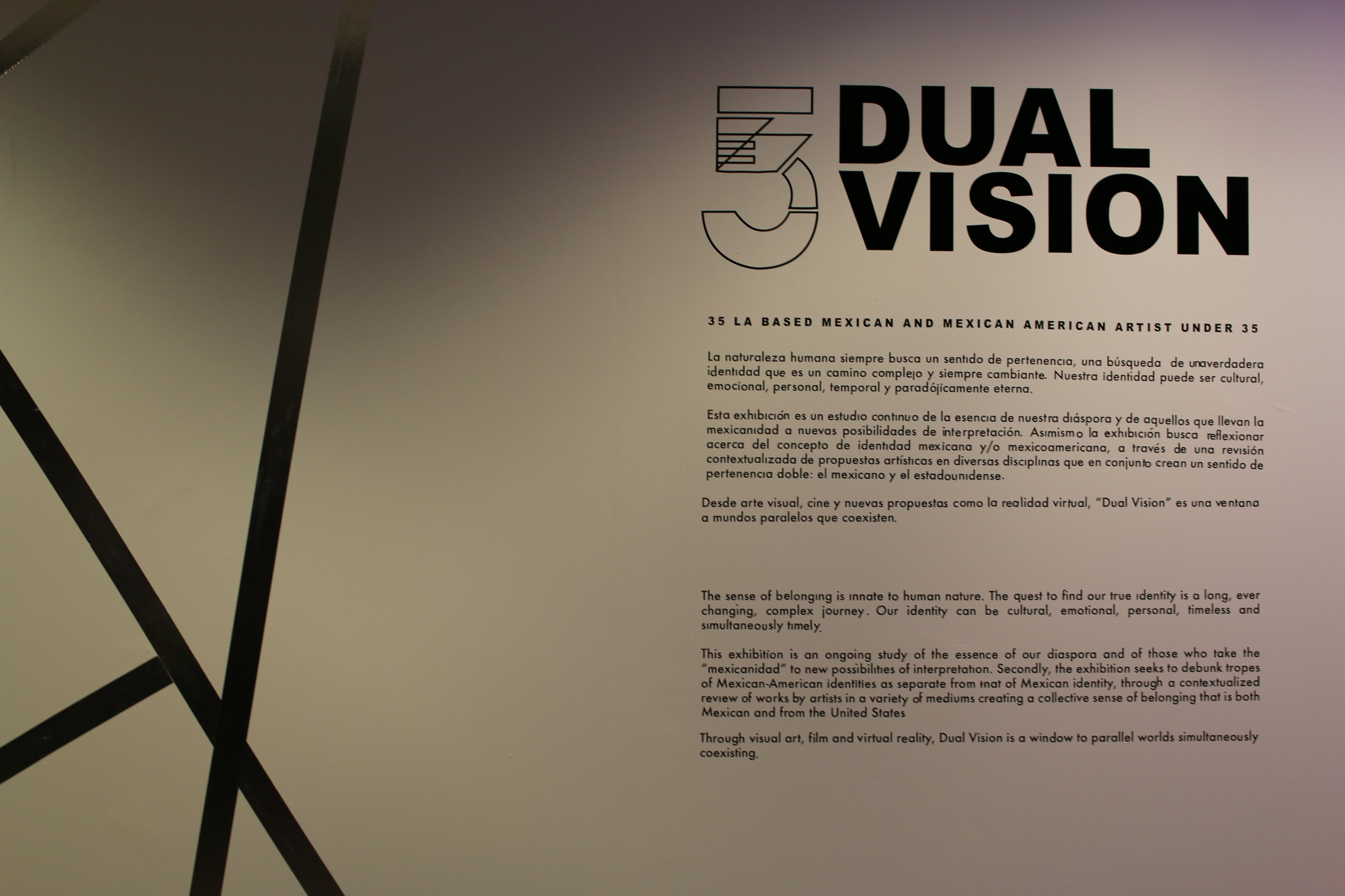 "Featured multimedia artist in the Mexican Consulate's exhibition: ""Dual Vision: 35 LA Based Mexican and Mexican American Artists Under 35."""