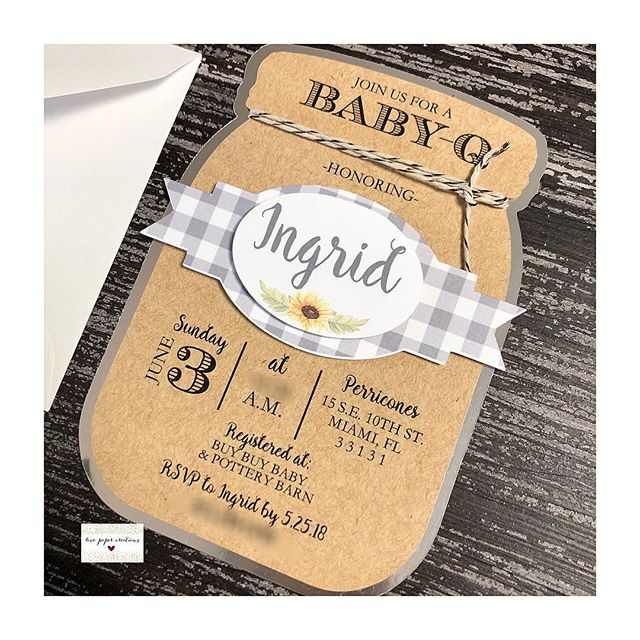 Wishing Ingrid a happy baby shower today! 🤗💕 #lovepapercreations #love #babyshower #invitation #babyq #masonjar #beautiful