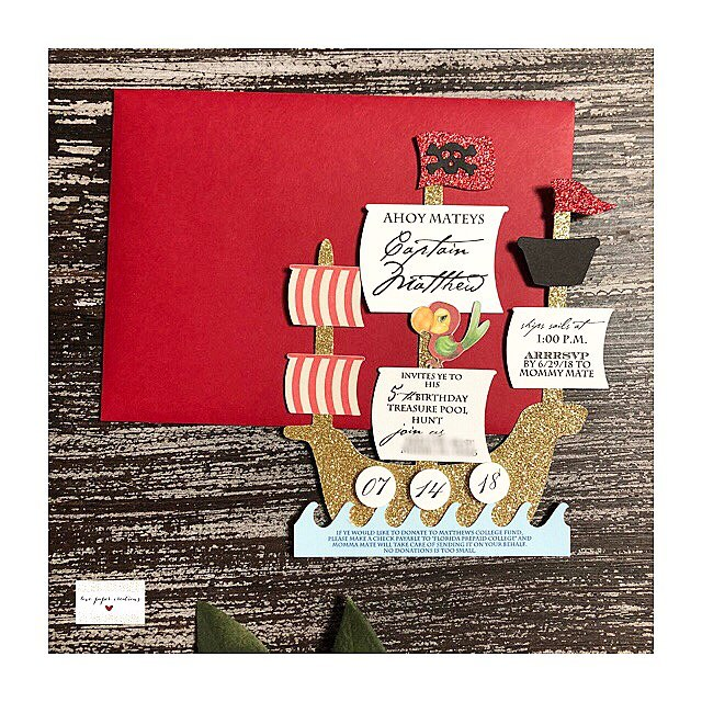 Captain Matthews invite 😍😍⚓️ #lovepapercreations #love #piratetheme #kidsparty #invitation #handmadewithlove #pirate