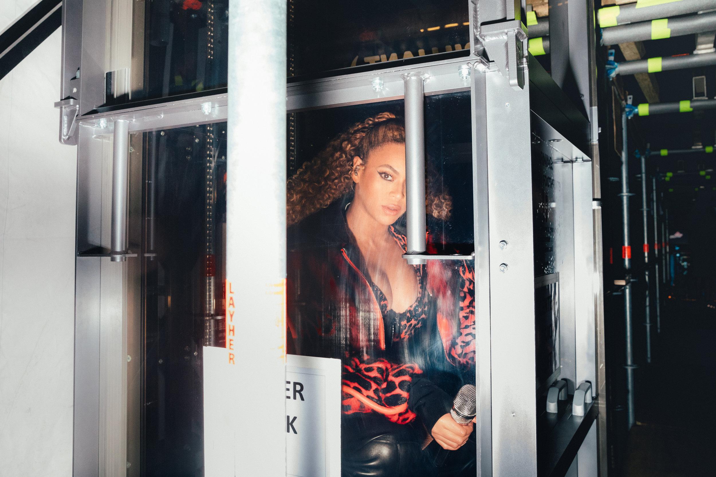 Beyoncé backstage during OTR II
