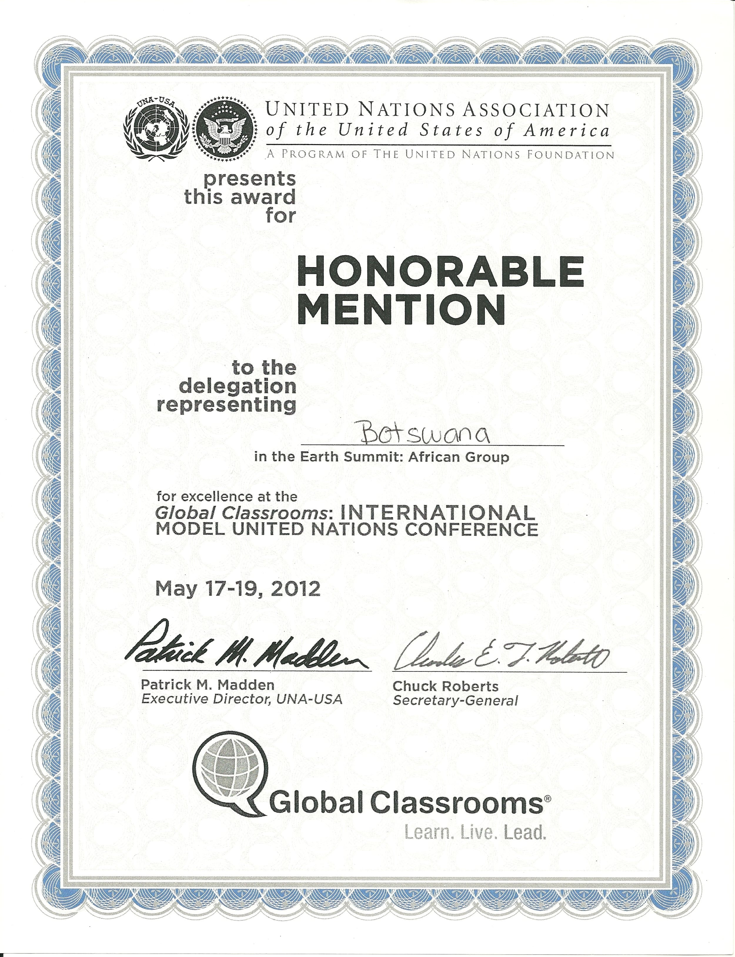 Global Classrooms International Model United Nations