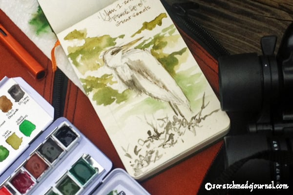 Field sketching kit in action while observing a white egret - scratchmadejournal.com