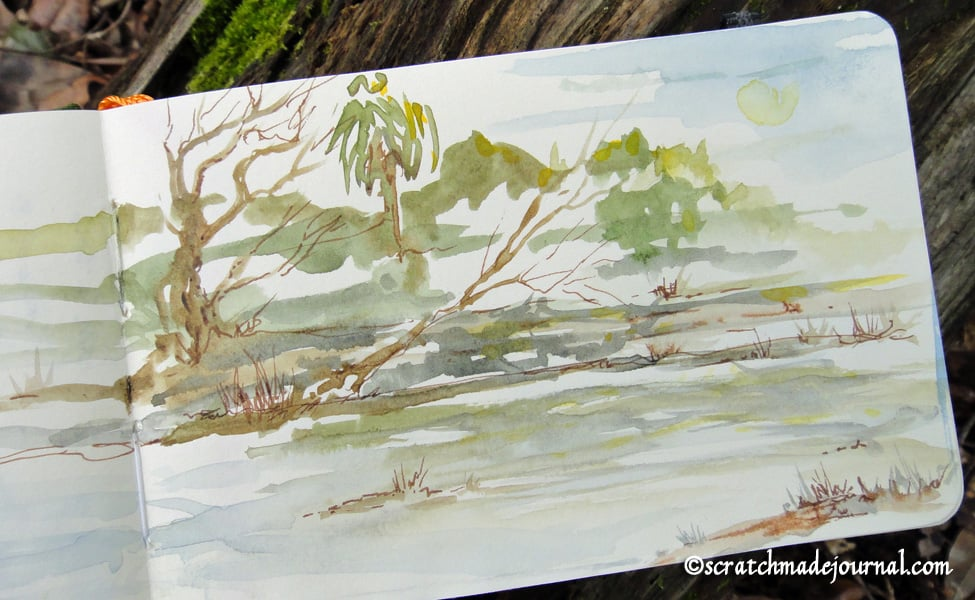 The paper handles ink and light watercolor washes well, but this thirsty paper drinks pigment.