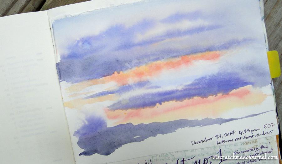 watercolor sunset - scratchmadejournal.com