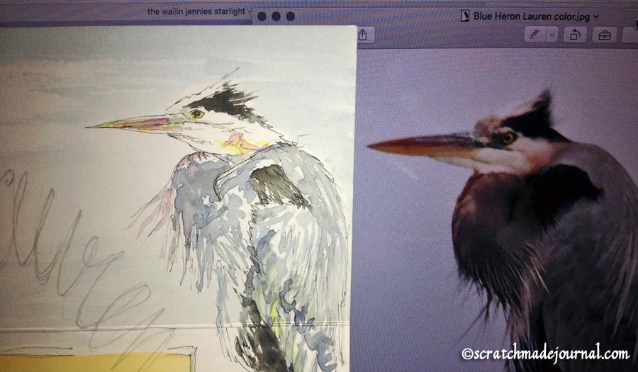 blue heron sketch - scratchmadejournal.com