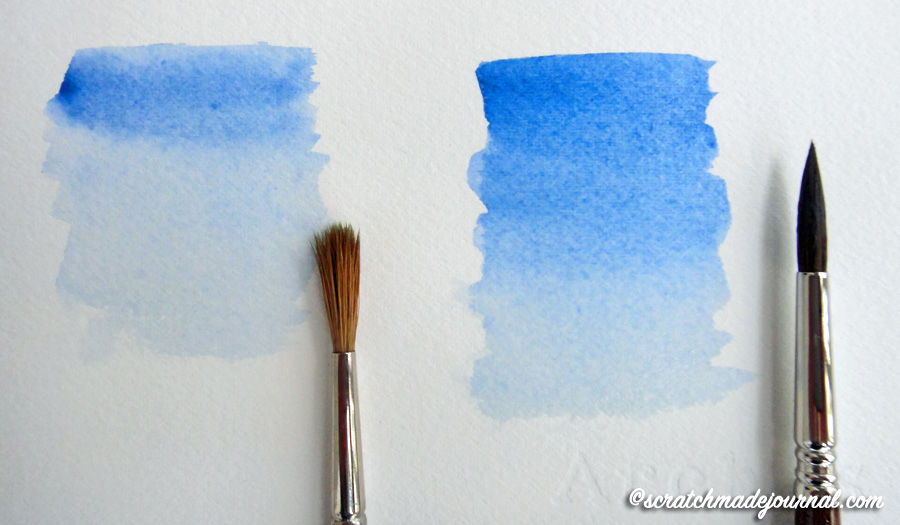 On the left is a student-grade watercolor brush and on the right is an artist-grade brush. You can see how the better brush holds its point and produces a much better quality wash.