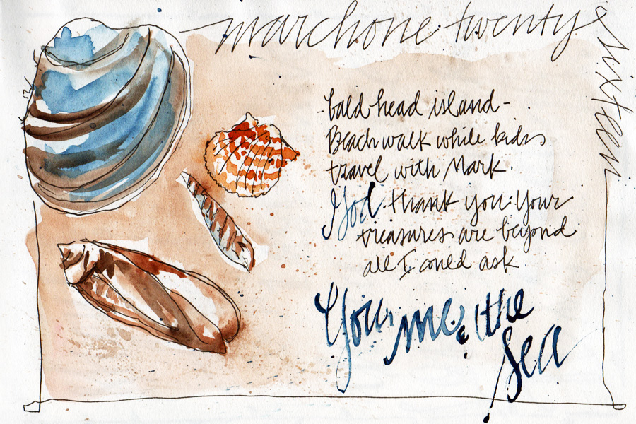 seashell watercolor sketch journal page - scratchmadejournal.com