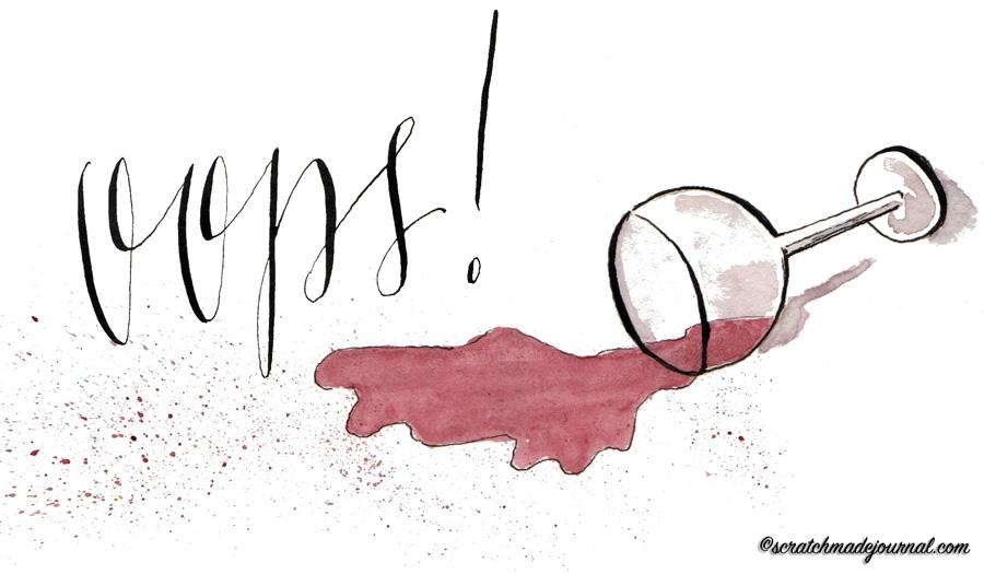 oops spilled wine illustration - scratchmadejournal.com