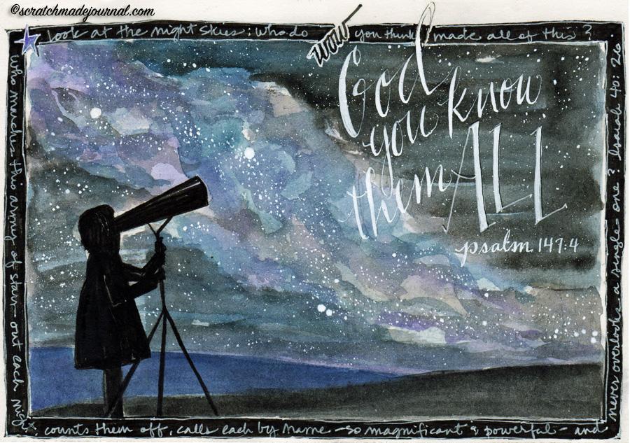 Psalm 147:4 night sky stars illustration - scratchmadejournal.com