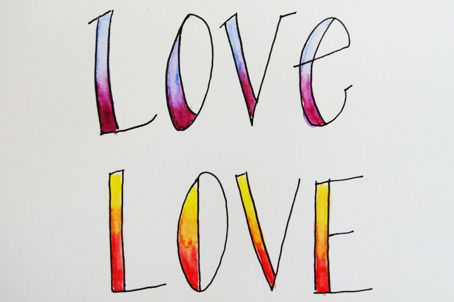 watercolor love hand lettering - scratchmadejournal.com