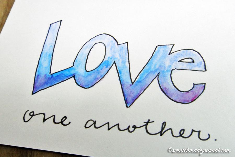 block watercolor lettering - scratchmadejournal.com