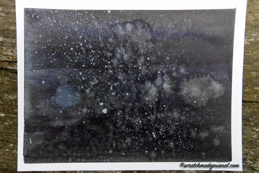 how to paint a watercolor night sky tutorial - scratchmadejournal.com