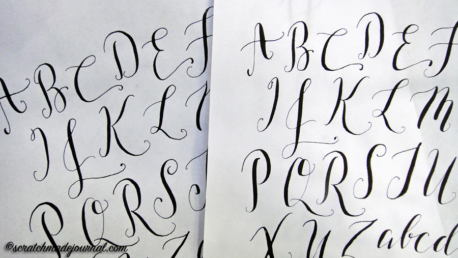 I had much better results penning modern calligraphy using my Tachikawa G nib (left) compared to the Gillott 303 on the right.
