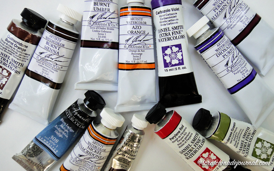 sample of various watercolor names - scratchmadejournal.com