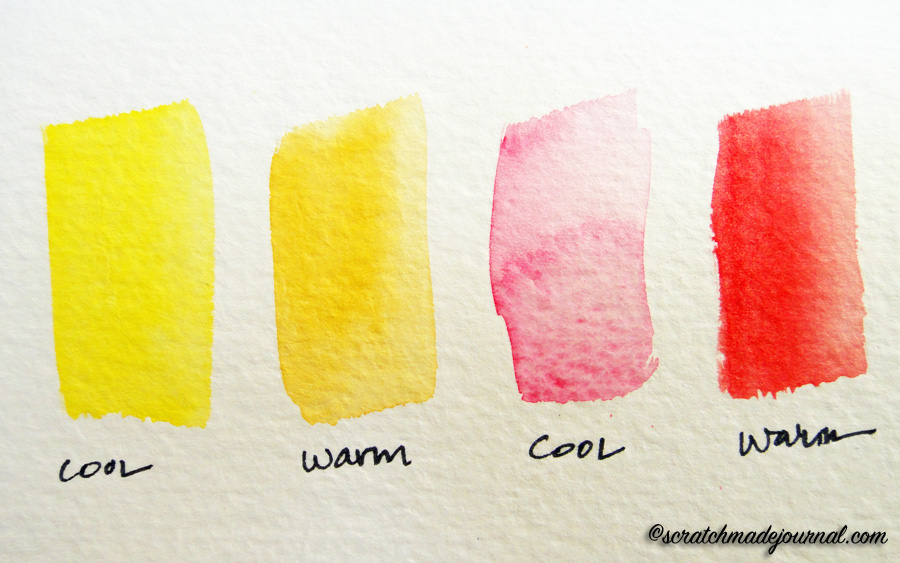 Determining warm vs cool watercolor shades - scratchmadejournal.com