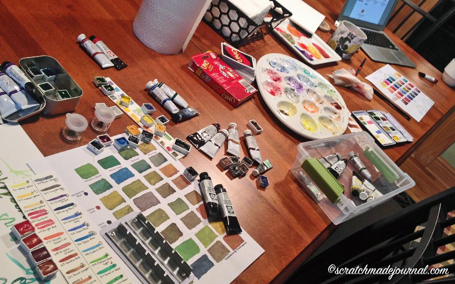 Huge watercolor mixing experiment - scratchmadejournal.com