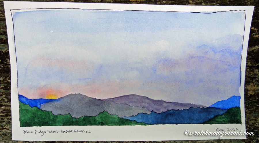 Blue Ridge mountains sunrise watercolor sketch - scratchmadejournal.com