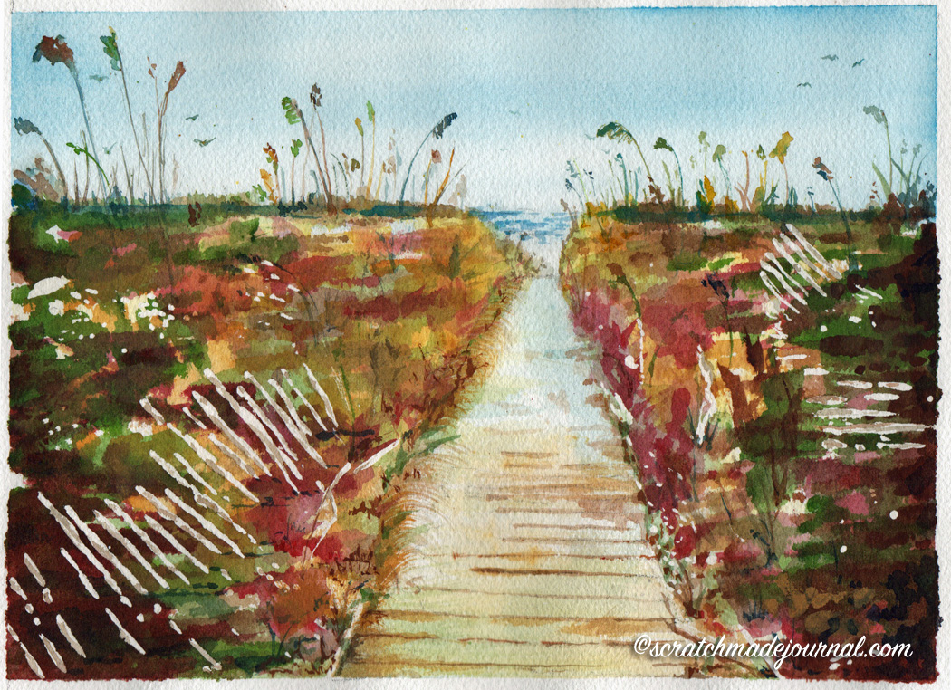Pathway to the beach watercolor - scratchmadejournal.com