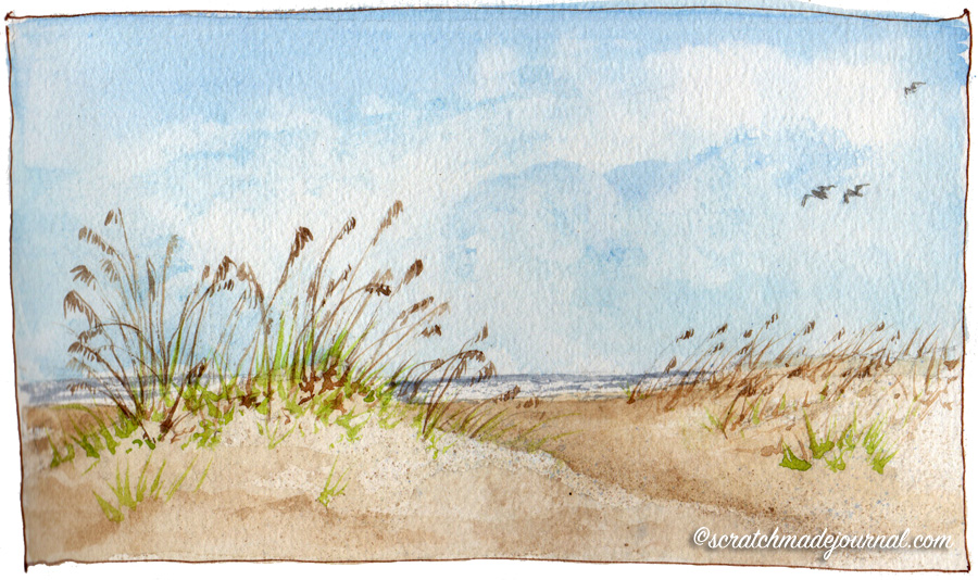 sand dunes watercolor sketch - scratchmadejournal.com