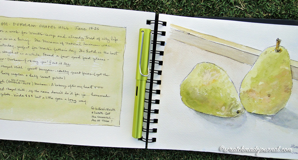 My art journals are also my travel journals, like this hotel still life along with eatery notes!