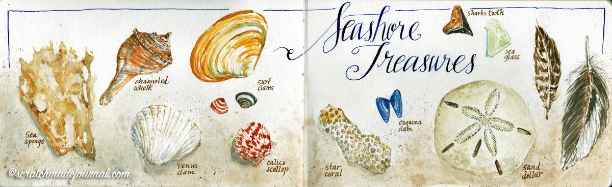 Seashore treasures seashell watercolor sketch in a Pentalic Aqua Journal - scratchmadejournal.com