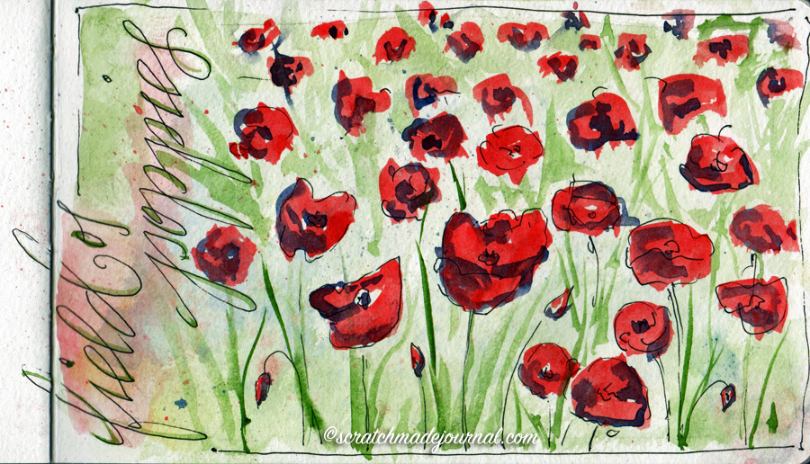 Field of poppies watercolor sketch - scratchmadejournal.com
