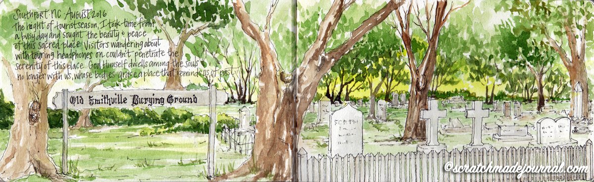 Old Smithville Burying Grounds Southport NC watercolor sketch - scratchmadejournal.com