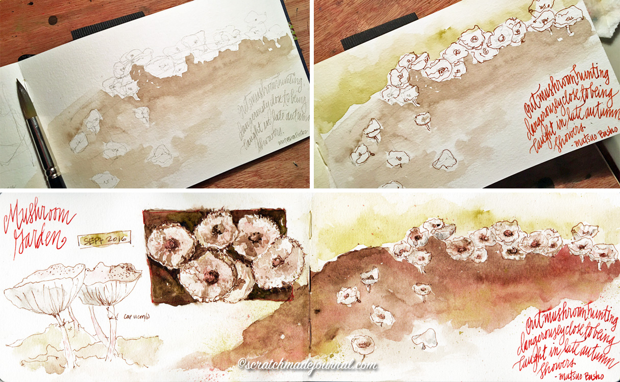Mushroom garden watercolor field journal sketches - scratchmadejournal.com
