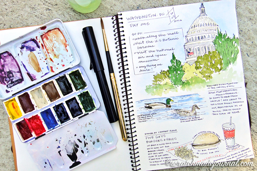 Washington DC travel sketches in a Holbein Multimedia Pad - ScratchmadeJournal.com