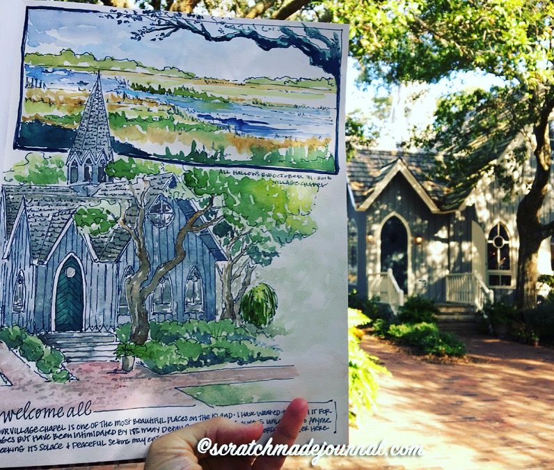 Watercolor sketch of the chapel at Bald Head Island NC - ScratchmadeJournal.com