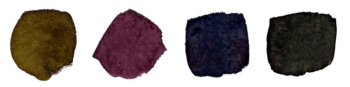 From left:  Dioxazine Purple  (PV23) +  Hansa Medium  (PY97);  Vermillion  (PR242) +  Indanthrone Blue  (PB60);  Bt Sienna  (PBr7) + Indanthrone Blue;  Quin Bt Orange  (PO48) + Indanthrone Blue