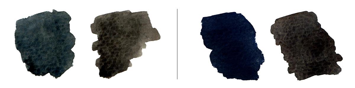 Left:  Cobalt  (PB28) +  Raw Umber  (PBr7); Right:  Ultramarine  (PB29) + Raw Umber