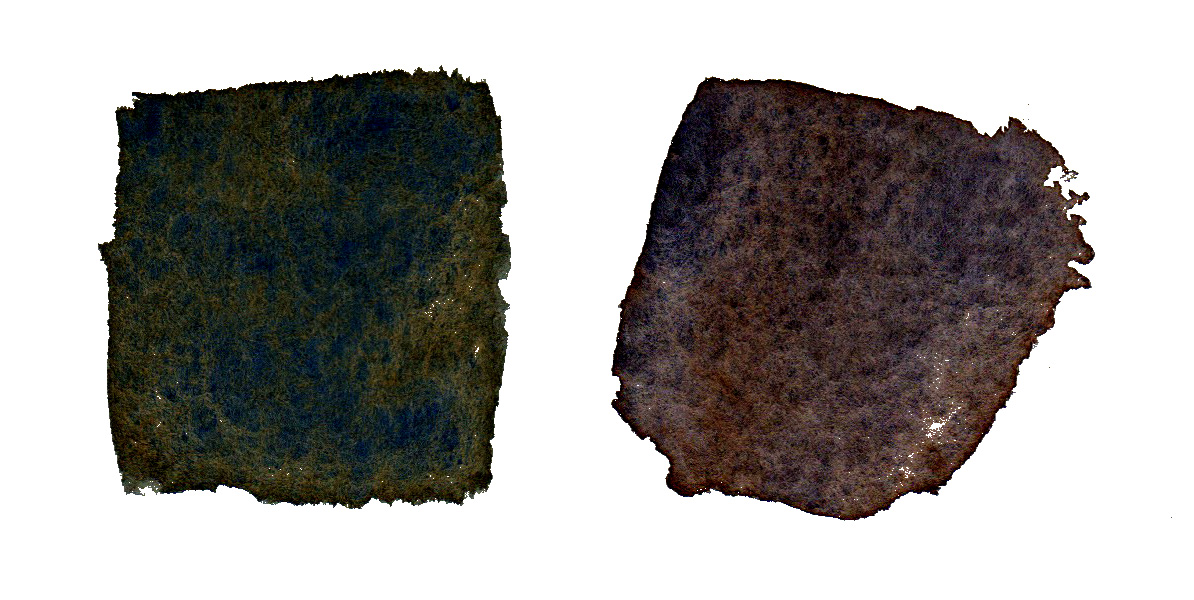 Left: Quin Bt Orange (PO48) + Ultramarine (PB29); Right: Bt Sienna (PBr7) + Ultramarine  Granulating pigments tend to settle and turn a lovely black into a not-so-black color when the mix is dry, unless you like that sort of thing, and many do!